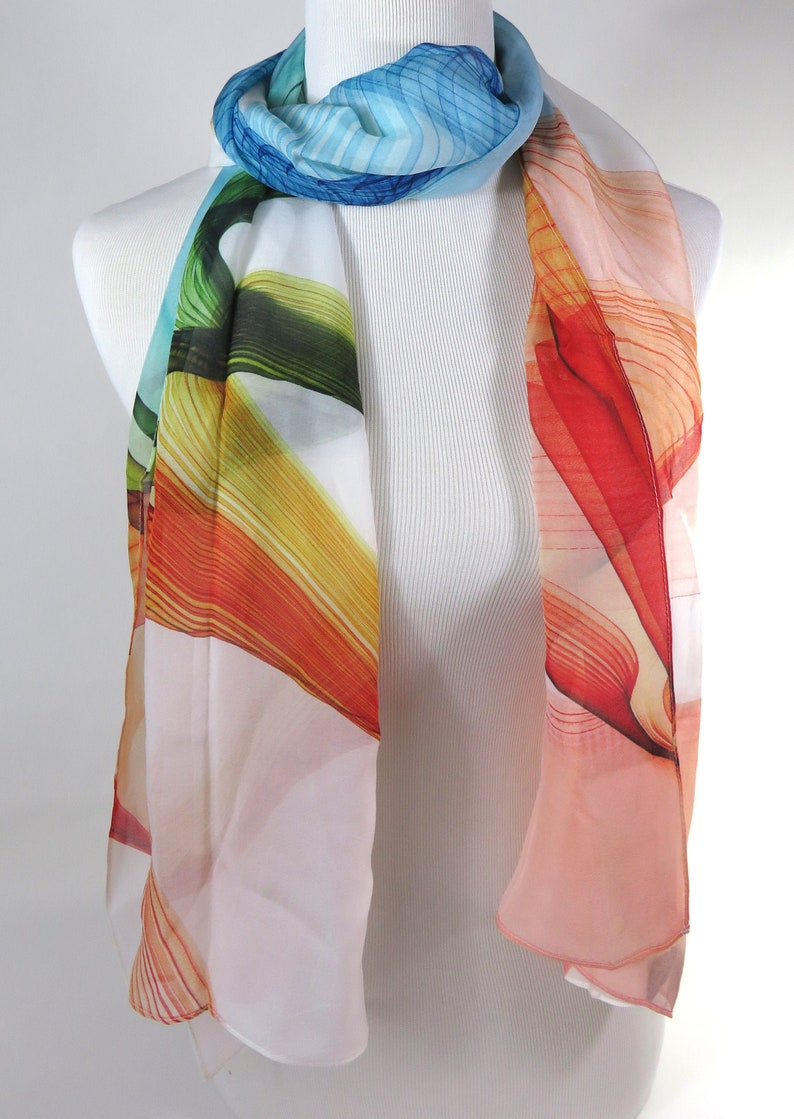 35890748423 Long Silk Scarf, White Chiffon Sheer scarf for woman, Fine silk retirement  gift for mom gift for wife, gift Ideas summer scarf