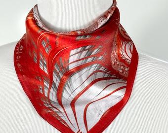 "Silk Neckerchief, ""Kilauea"" Small 16"" Square Scarf, Fractal Design, Christmas gifts for women, wrist scarf, purse scarf, friend gift"