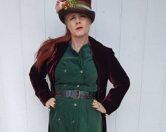 Green corduroy dress with pockets double breasted size 12 vintage 1980 does 1940 FREE SHIPPING from RCMooreVintage