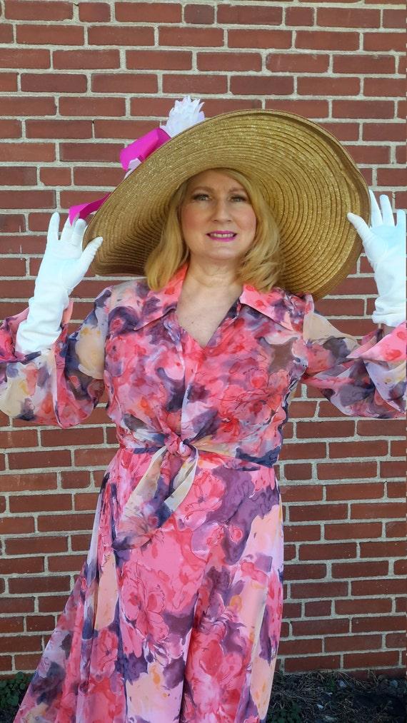 7643e8c6 Plus size Beautiful vintage 1970 2 piece chiffon maxi dress | Etsy