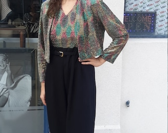 1970's Jump Suit with Gold Sequins and Jacket