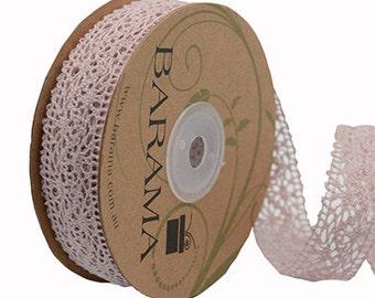 Dusky pink cotton lace by Barama