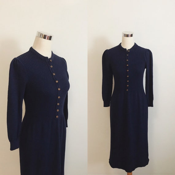 Vintage 1940s Style Knit Dress | 70s Does 40s Knit