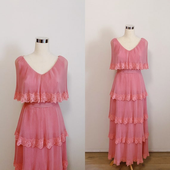 1970s Miss Elliette Tiered Accordion Pleated Dusty