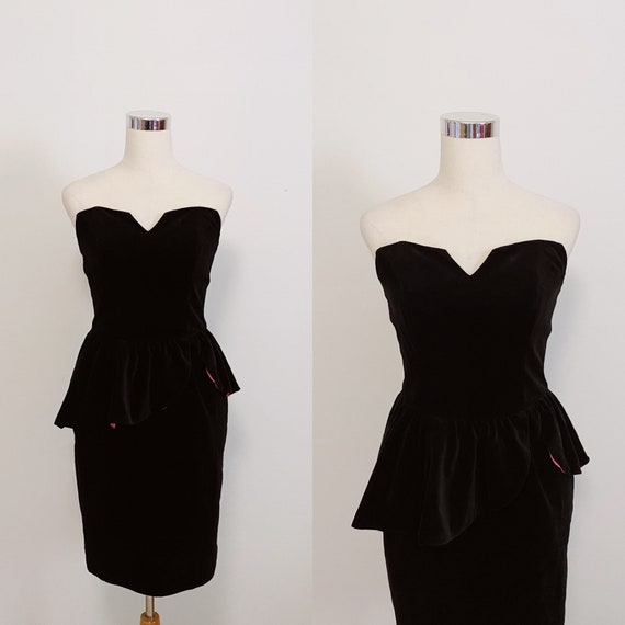 Radley 1980s Black Velvet Peplum Dress