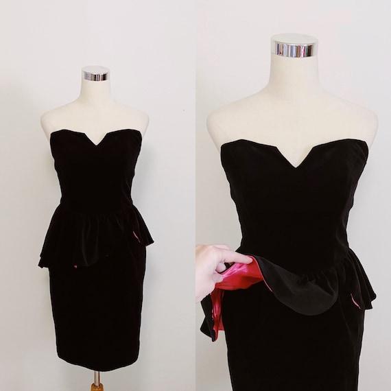 Radley 1980s Black Velvet Peplum Dress