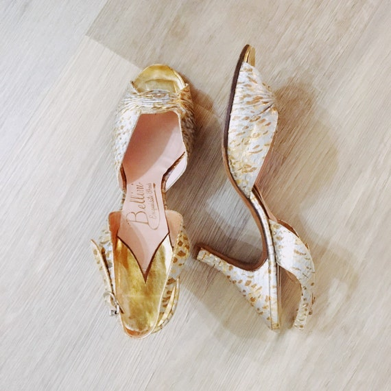 1950s Gold and Silver Lame Slingback Shoes