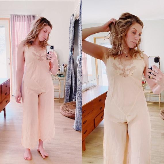 1930s Silk Jumpsuit Beach Pajamas Loungewear Size
