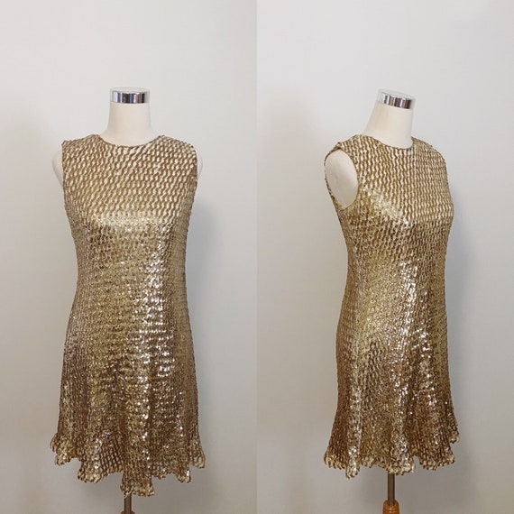 1960s Anne Fogarty Gold Sequin Mesh Dress
