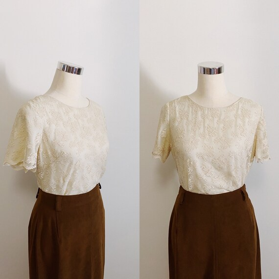 1950s Cropped Lace Cream Blouse