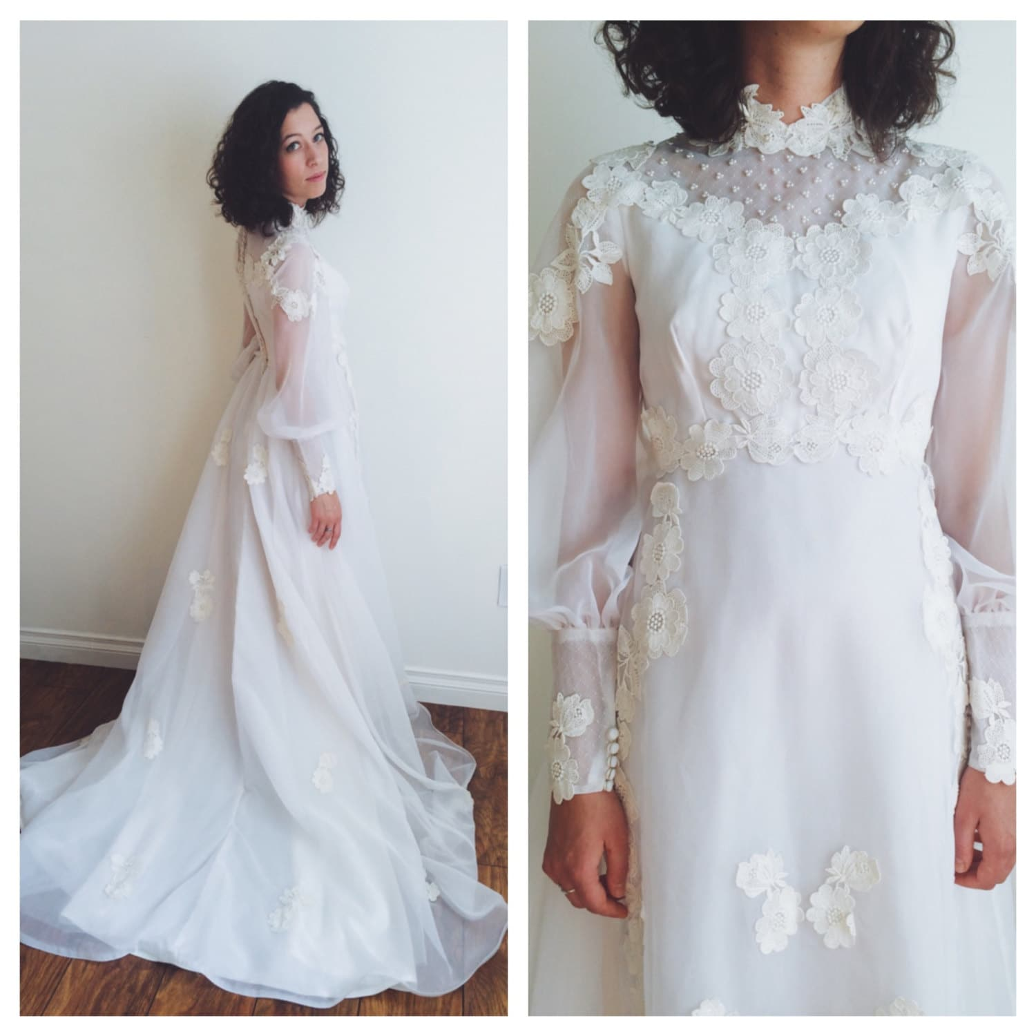 1960s Vintage Wedding Dress With Applique Flowers Size