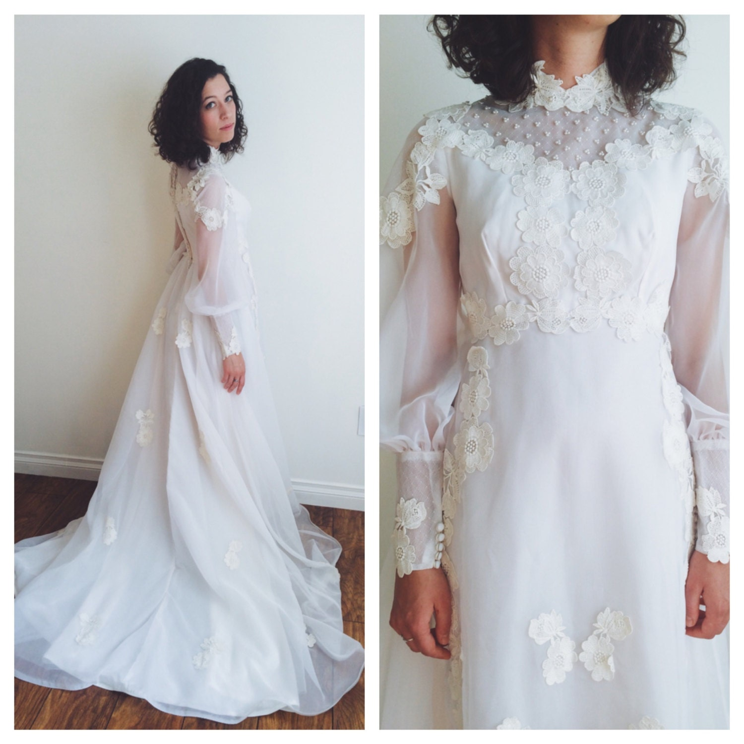 1960s Vintage Wedding Dress with Applique Flowers Size Small