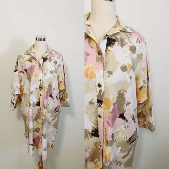 1980s Abstract Painting Smock Dress