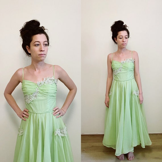 1950s Lime Chiffon and Lime Party Prom Dress