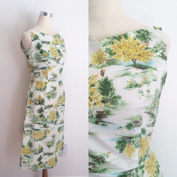 1950s Cotton Novelty Print Dress 28 inch Waist | 5