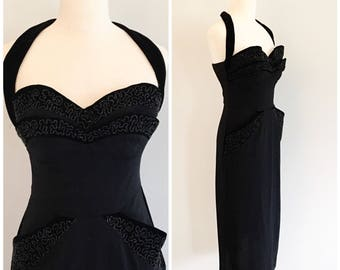 1940s Old Hollywood Black Halter Dress with Pockets & Matching Bolero | 40s Black Evening Gown