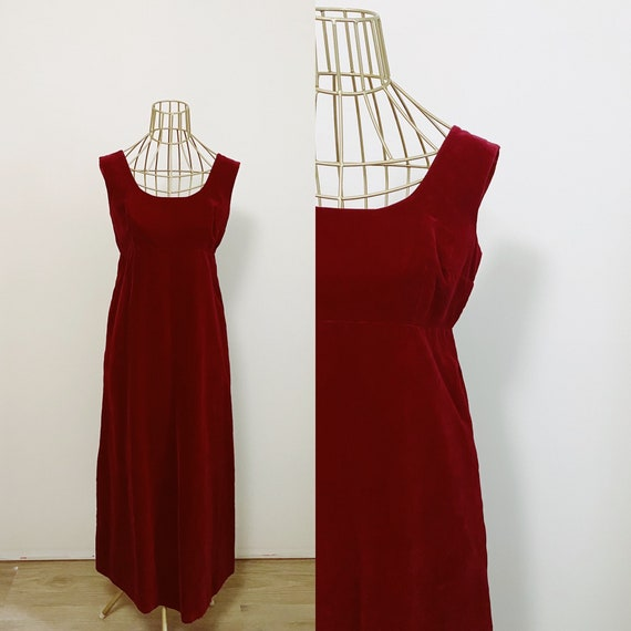 1960s Red Velvet Empire Waist Dress