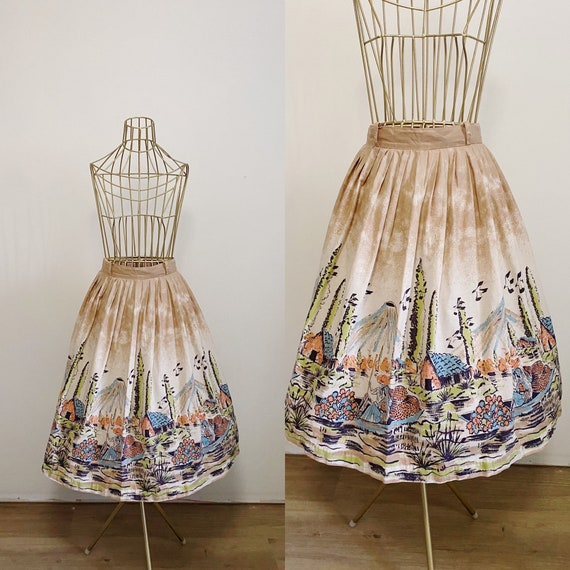 1950s Novelty Print Cotton Skirt | 50's Mexican Sc
