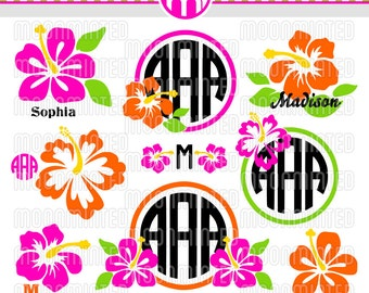Hibiscus Flowers SVG Cut Files - Monogram Frames for Vinyl Cutters, Screen Printing, Silhouette, Die Cut Machines, & More
