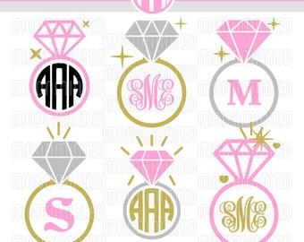 Diamond Wedding Ring SVG Cut Files - Monogram Frames for Vinyl Cutters, Screen Printing, Silhouette, Die Cut Machines, & More