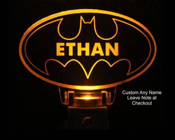 Personalized Batman Night Light,Light Sensor, Wall plug In