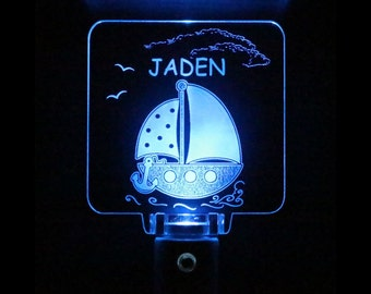 Sailboat Night Light Personalized, Choose your color, Kids gift