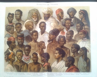 """Chromolithograph, """"African peoples""""."""