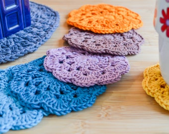 Scalloped Drink Coasters. 120 Colour Options. Sets of 2,4 or 6. Handmade to Order.
