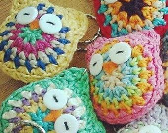 Owen the Owl Keyring. 120 Colour Options. Handmade to Order.
