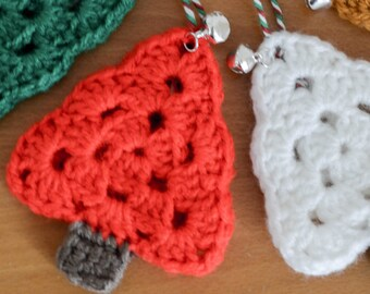 Christmas Tree Hanging Decoration with Jingle Bell. 120 Colour Options. Handmade to Order.
