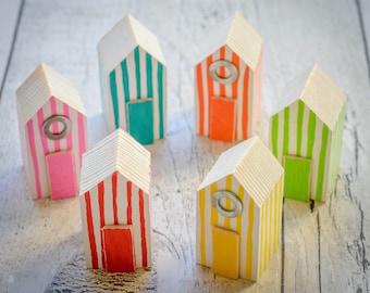 Beach Huts Shelf Ornaments. 44 Colour Options. Handmade to Order.