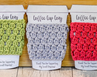 Cluster Stitch Coffee Cup Cozy. 109 Colour Options. Handmade to Order.