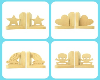 Outlines Selection Pair of Bookends. 90 Colour Options. Handmade to Order.