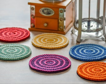 Decreasing Circles Drink Coasters. 120 Colour Options. Sets of 2,4 or 6. Handmade to Order.