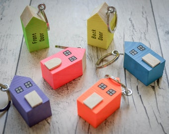 Cornish Country Cottage Keyring. 3 Styles. 90 Colour Options. Handmade to Order.