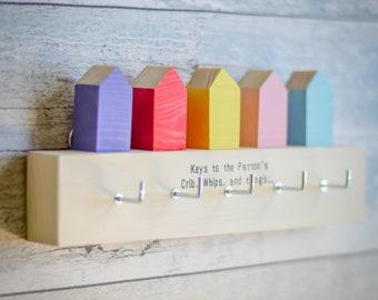 Minimalistic Houses Key Rack. 90 Colour Options. Handmade to Order.