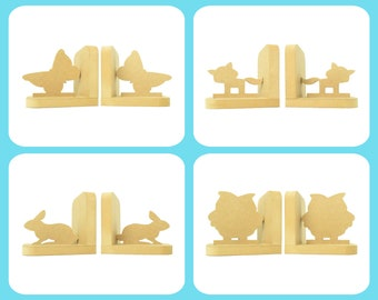 Animals Selection Pair of Bookends. 90 Colour Options. Handmade to Order.
