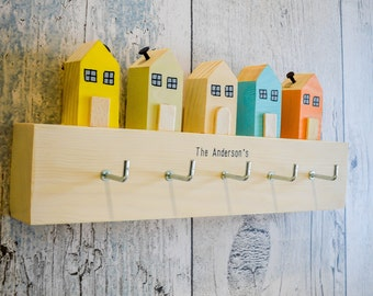 Cornish Country Cottages Key Rack.90 Colour Options.Handmade to Order.