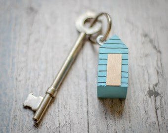 Garden Shed Keyring. 90 Colour Options. Handmade to Order.