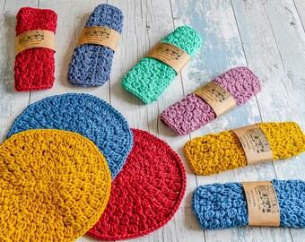 Pampering Circular Washcloth/Dishcloth. 109 Colour Options. Handmade to Order.
