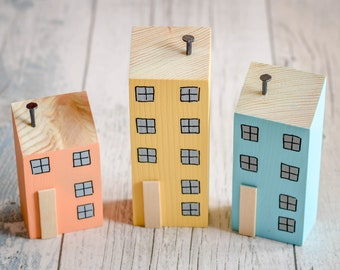 Cornish Town House Ornaments. 4 Styles. 90 Colour Options. Handmade to Order.
