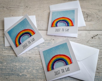 """Rainbow """"Just to Say"""" Blank Card. Handmade to Order."""