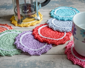 Inverted Scalloped Drink Coasters. 109 Colour Options. Sets of 2,4 or 6. Handmade to Order.