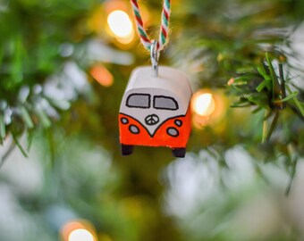 Classic Campervan Front View Christmas Tree Hanger. 90 Colour Options. Handmade to Order.