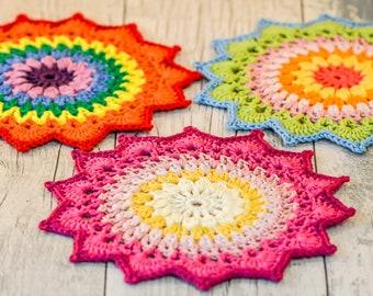 Star Mandala Table Mat. 120 Colour Options. Handmade to Order.