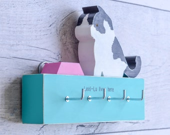 Connie the Cat Batten Key Rack. 90 Colour Options. Handmade to Order.