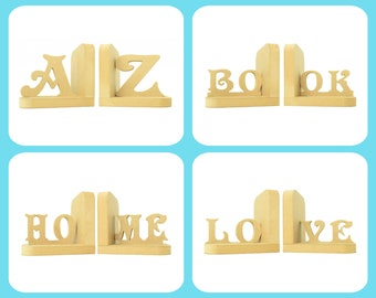 Words Selection Pair of Bookends. 90 Colour Options. Handmade to Order.