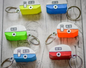 Caravan Keyring. 4 Styles. 45 Colour Options. Handmade to Order.