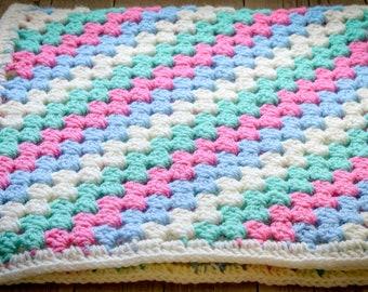 Diagonal Granny Stripe Baby Blanket. 45 Colour Options. 70x70cm (27.55x27.55in) Handmade to Order.