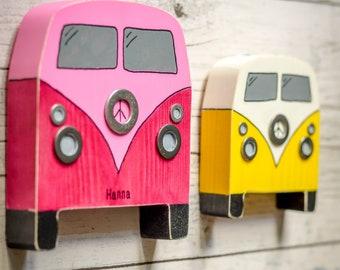 Classic Campervan Wall Art. 90 Colour Options. Handmade to Order.